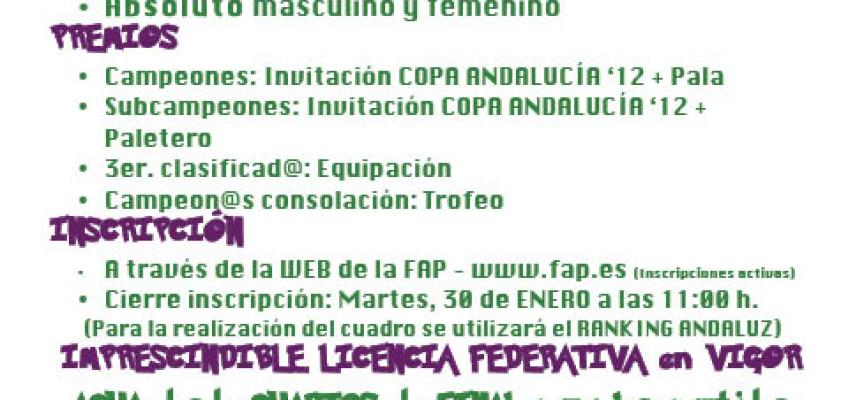 Málaga buscará sus campeones absolutos de pádel a principios de febrero