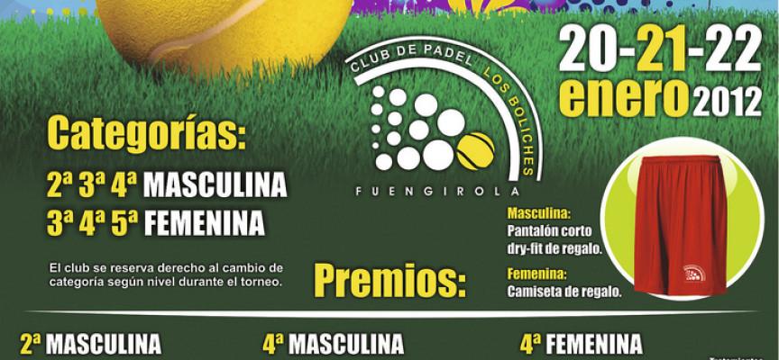 Más de 1200 euros en premios en el torneo de enero del Club de Pádel Los Boliches (Fuengirola)