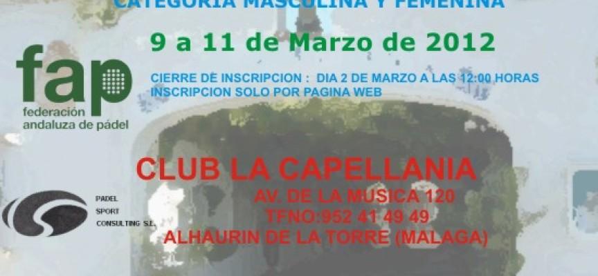 Espectáculo garantizado en La Capellanía con el Campeonato de Andalucía de Equipos de 1ª