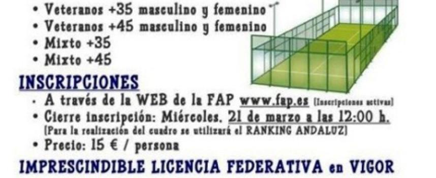 El Higuerón acogerá el Campeonato Provincial Veteranos de Pádel 2012