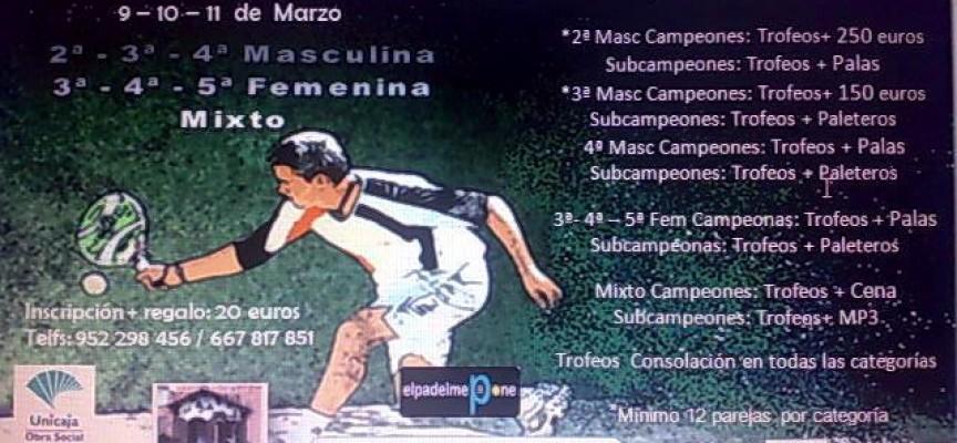 El Polideportivo La Mosca (Málaga) acoge un gran torneo de pádel con interesantes premios