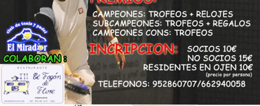El club El Mirador promueve la afición al pádel en Ojén con un torneo para empezar junio