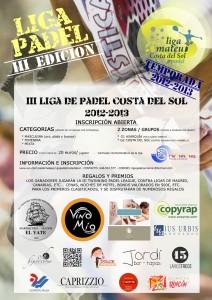 cartel III Liga de Pádel Costa del Sol 2012 - 2013