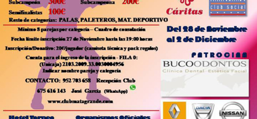 El Open Solidario de Pádel del Club Matagrande repartirá 1600 euros en efectivo