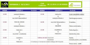 horarios II Jornada Liga FAP 3 categoria grupo 2