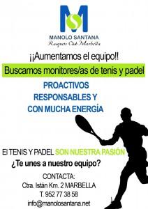 cartel profesores padel y tenis manolo santana racquet club marbella