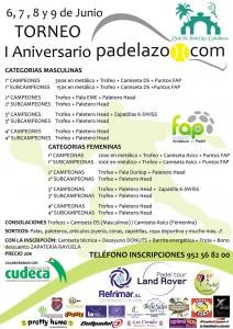 cartel nuevo torneo padel aniversario padelazo junio 2013