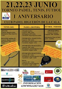 cartel definitivo torneo I Aniversario Club Higueron La Cala junio 2013