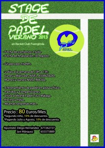 cartel stage verano ohu padel racket club fuengirola 2013