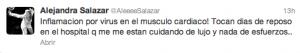 Twitter Ale Salazar lesión miocarditis