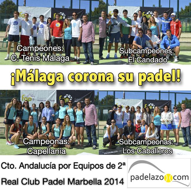 campeones y subcampeones campeonato andalucia padel equipos 2 categoria marbella marzo 2014