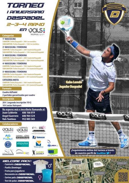 cartel nuevo Torneo I Aniversario Daspadel vals sport teatinos mayo 2014