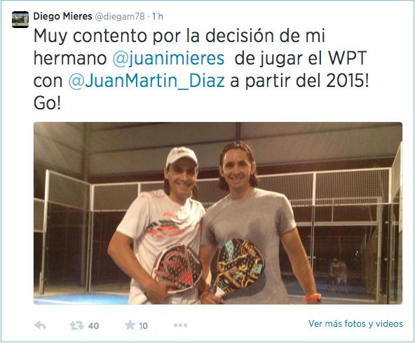 anuncio nueva pareja Juan Martín Díaz y Juani Mieres