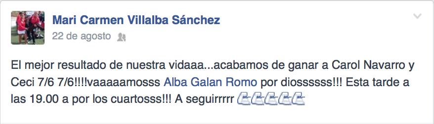 Así anunció Mari Carmen Villalba su victoria ante Carolina Navarro en La Nucía.