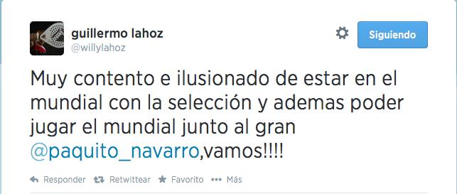 Mensaje de Willy Lahoz sobre su presencia en el Mundial de Padel 2014.