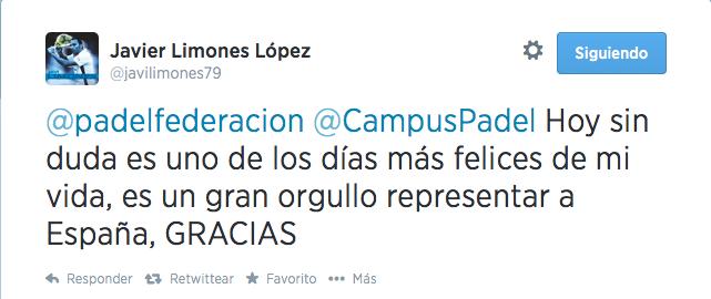 Javier Limones, exultante por su convocatoria para el Mundial de Padel 2014.
