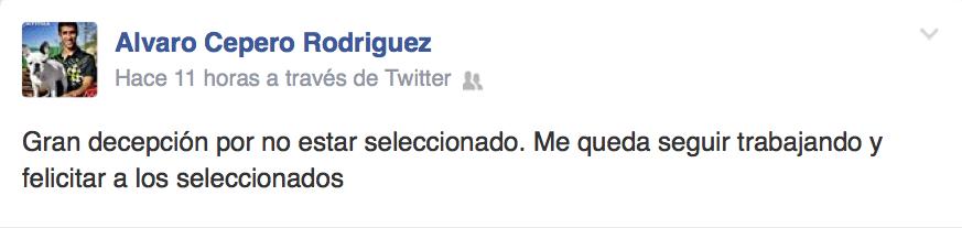 La decepción de Cepero por no estar en el Mundial de Padel 2014.
