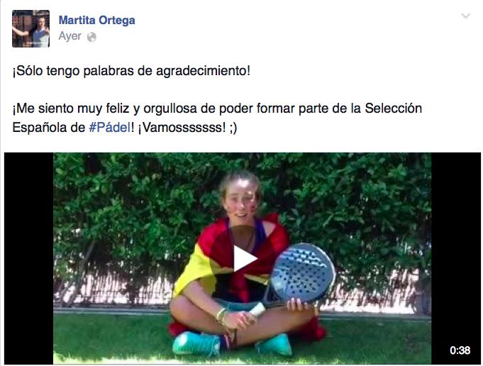 Marta Ortega, exultante por representar a España en el Mundial de Padel 2014.