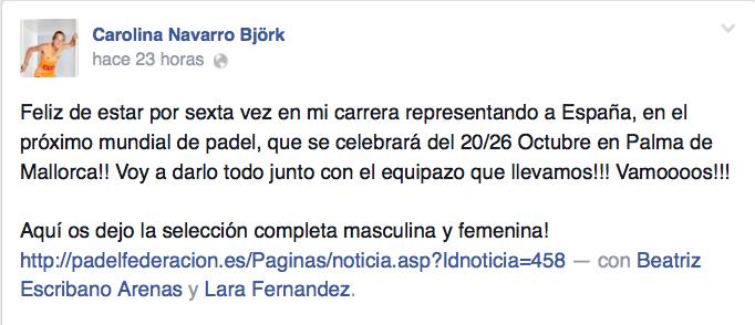 Carolina Navarro celebra su sexta participación en un Mundial de Padel.