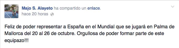 Majo Sánchez Alayeto celebra su convocatoria para el Mundial de Padel 2014.