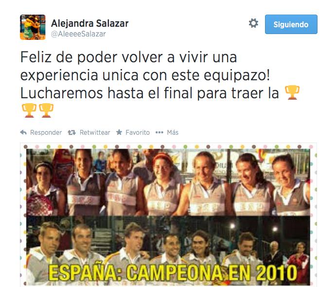 Alejandra Salazar se mostró feliz de poder ir al Mundial de Padel 2014.