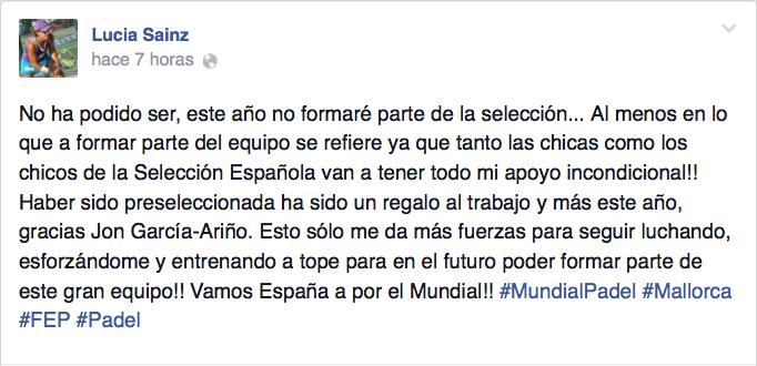 Lucía Sainz ha expresado su apoyo a la selección femenina tras su descarte.