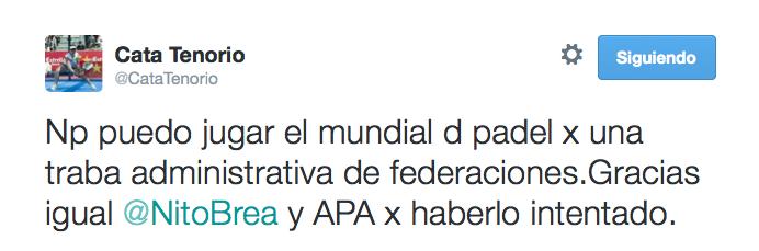 Cata Tenorio confirma que no estará con Argentina en el Mundial de Padel.
