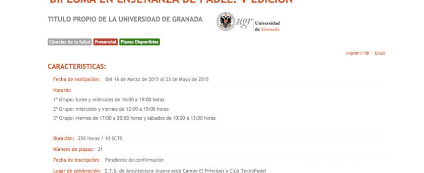 Diploma de Enseñanza en el Padel: una inmersión multidisciplinar en Granada