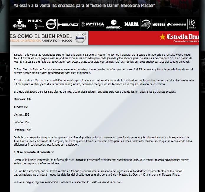 Noticia publicada en la web del World Padel Tour la semana pasada.