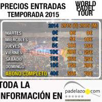 World Padel Tour 2015: las entradas de los torneos Open también son más caras que en 2014