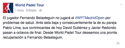 Así contó World Padel Tour la baja de Bela y Lima en Madrid.