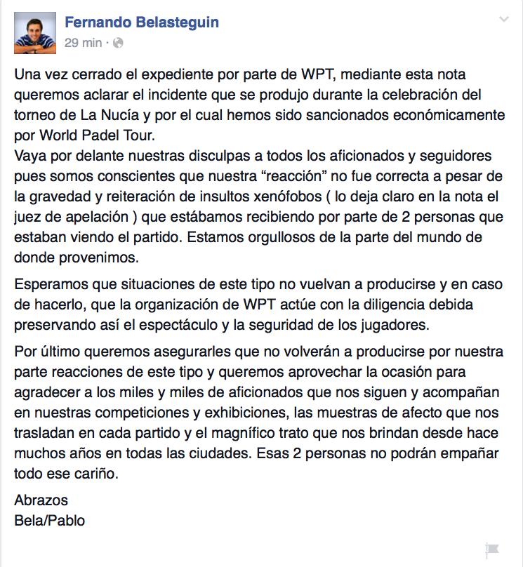 Reacción de Belasteguin y Lima a su sanción