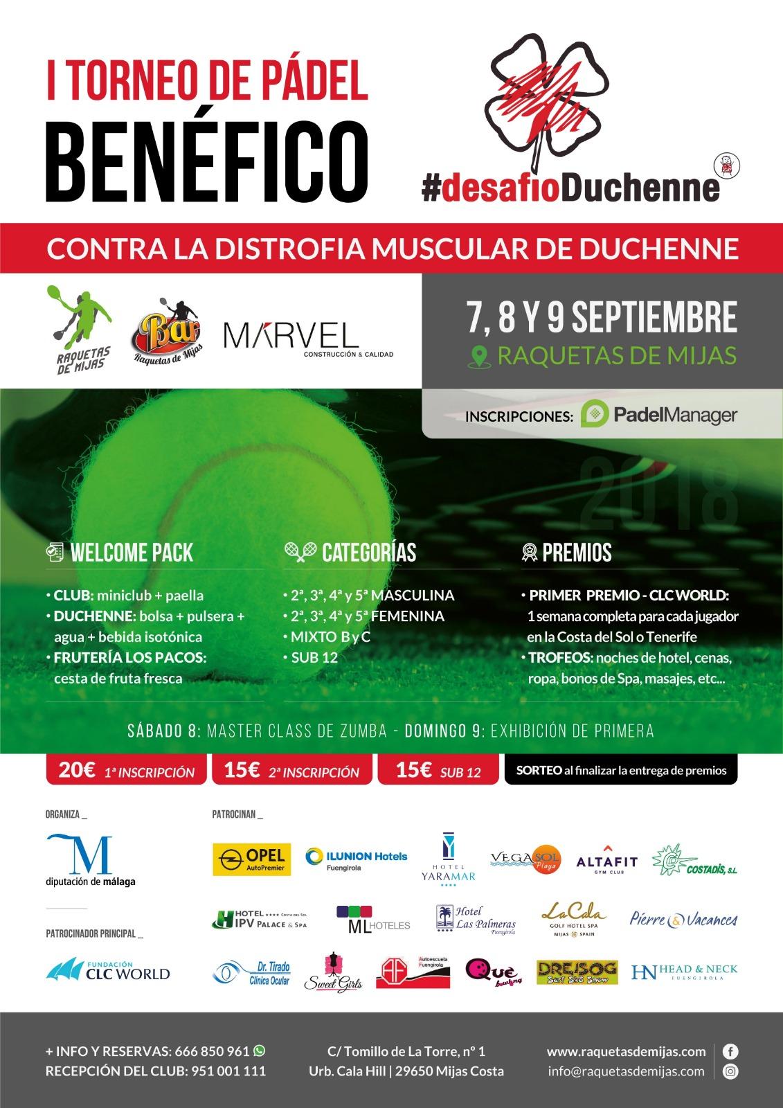 cartel torneo padel desafio duchenne costa del sol 2018