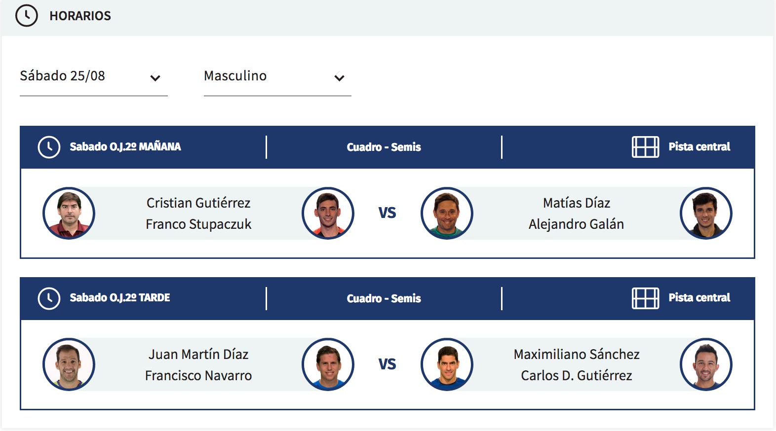 horarios semifinales masculinas wpt andorra open 2018
