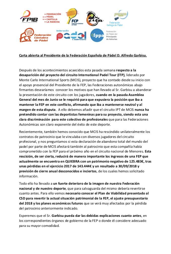 Carta Abierta Presidente FEP Alfredo Garbisu Federaciones Territoriales