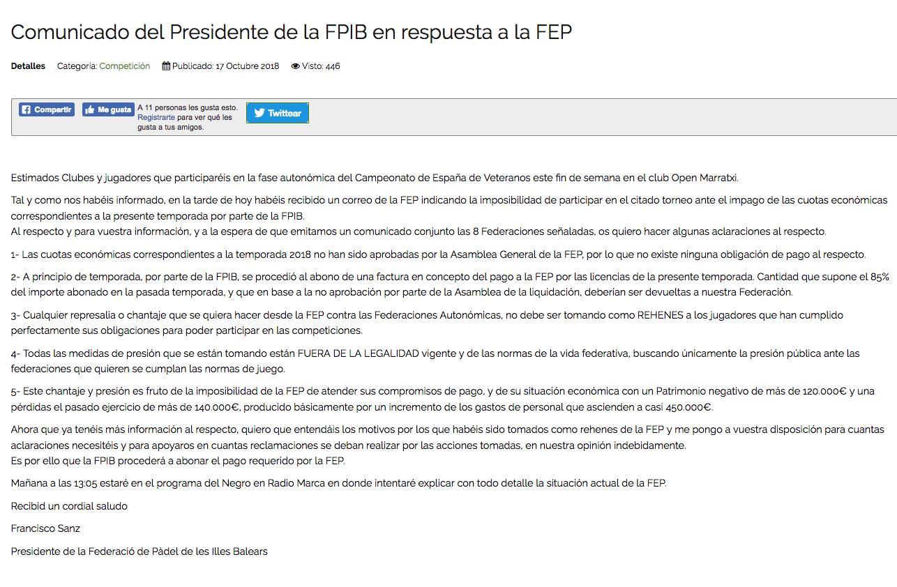 comunicado presidente federacion padel baleares respuesta FEP