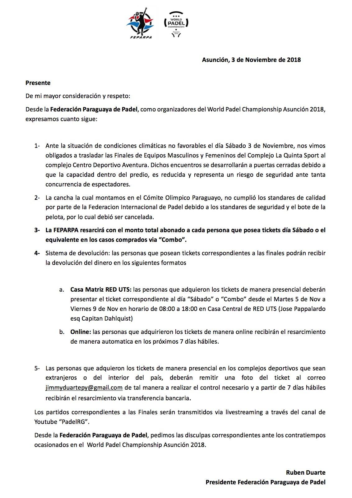 Comunicado Federacion Paraguaya Padel Mundial Padel 2018
