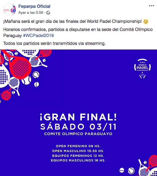 comite olimpico paraguayo escenario mundial padel 2018
