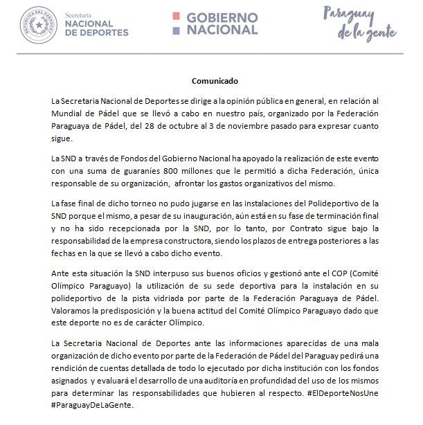 comunicado secretaria nacional deportes paraguay mundial padel 2018
