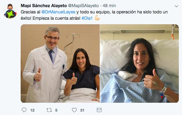operacion lesion hombro mapi sanchez alayeto