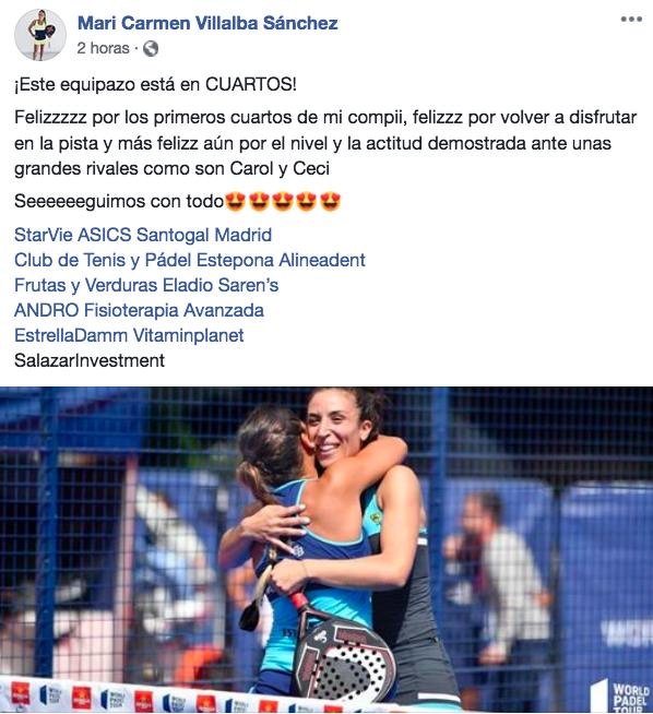 reaccion redes mari carmen villalba octavos final femeninos valladolid master 2019