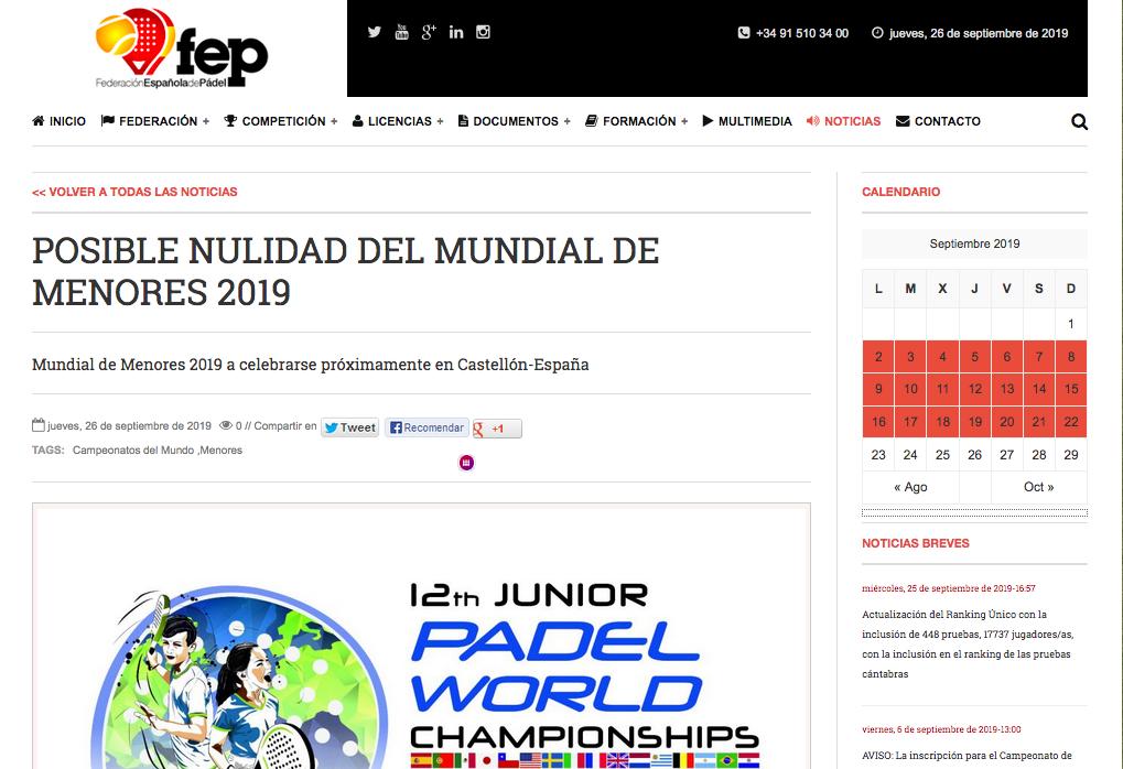 Comunicado FEP Nulidad Mundial Padel Menores 2019