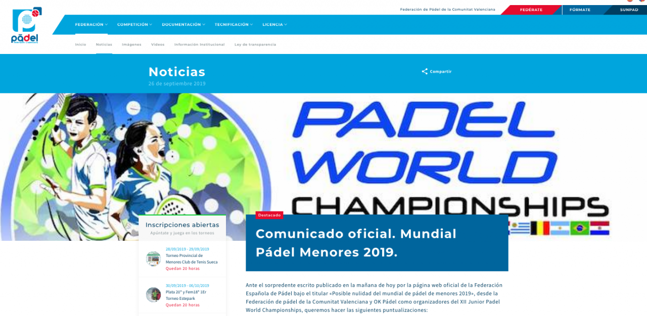 Respuesta Federacion Valenciana Padel Nulidad Mundial Menores 2019