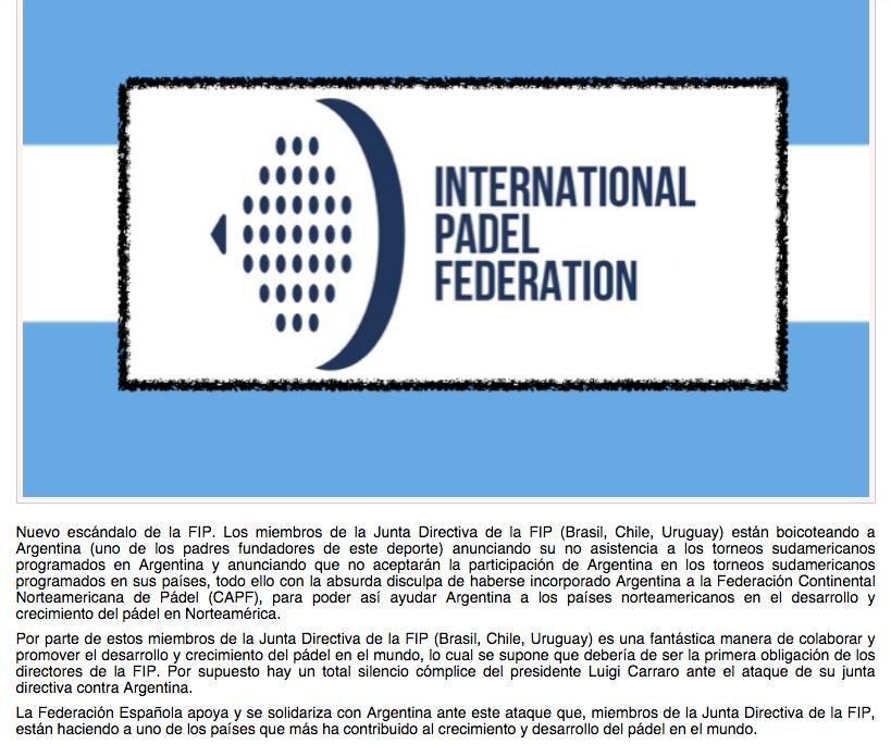 Comunicado de la FEP contra la FIP por boicot a Argentina