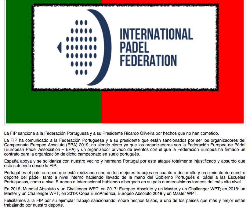 Comunicado de la FEP contra la FIP por sancion a Portugal