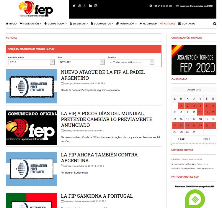comunicados contra FIP en la web de la FEP