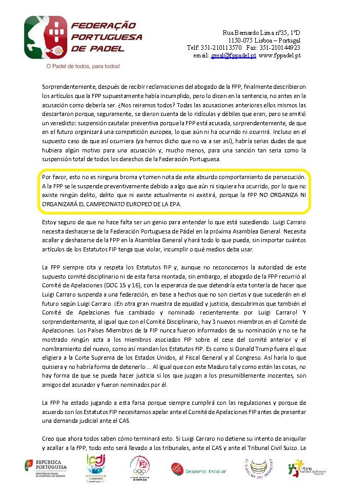 comunicado FPP sobre organizacion campeonato europa EPA