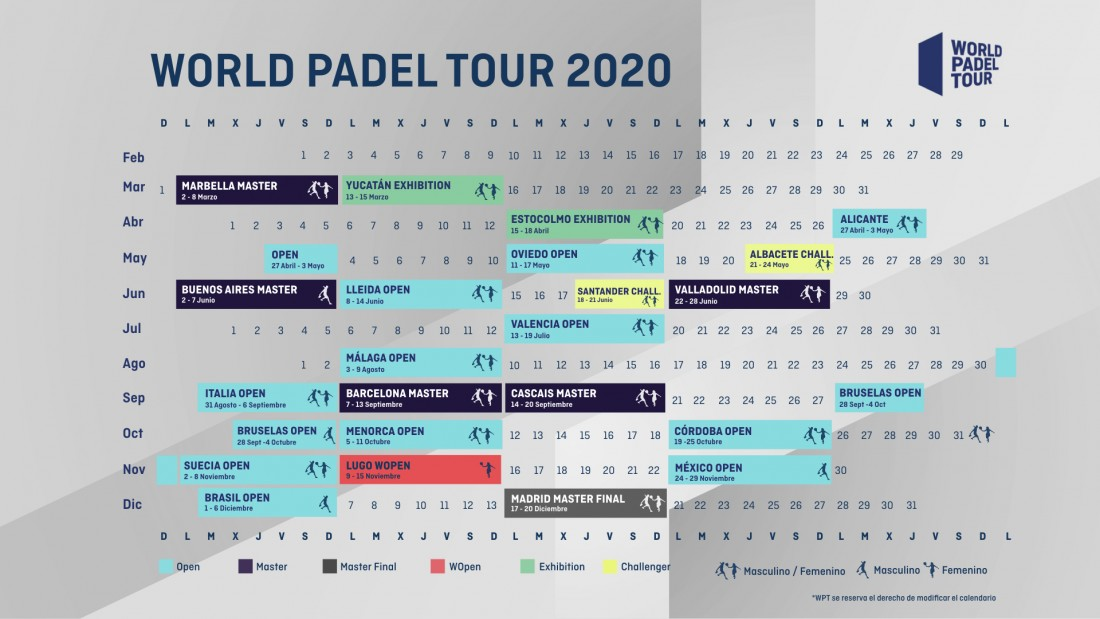 calendario modificado world padel tour 2020