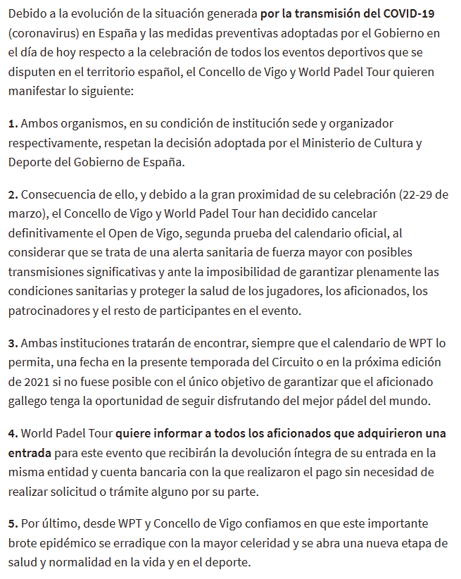 comunicado cancelacion wpt vigo open 2020